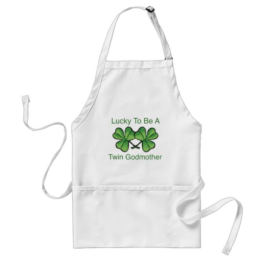 Lucky To Be Twin Godmother Adult Apron