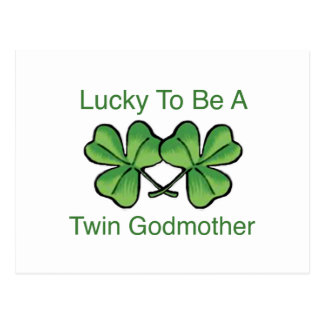 Lucky To Be Twin Godmother Postcard