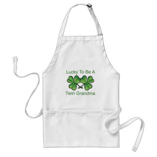 Lucky To Be Twin Grandma Adult Apron