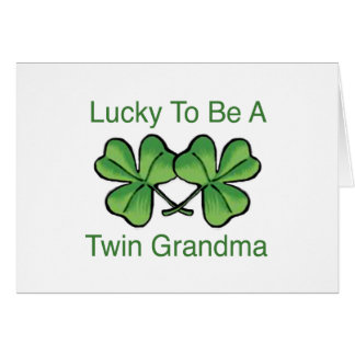 Lucky To Be Twin Grandma Card