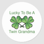Lucky To Be Twin Grandma Round Stickers