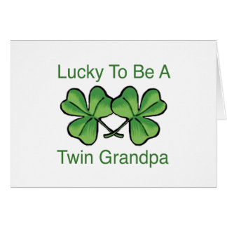 Lucky To Be Twin Grandpa Card