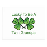 Lucky To Be Twin Grandpa Post Cards