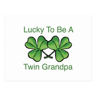 Lucky To Be Twin Grandpa Postcard