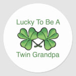 Lucky To Be Twin Grandpa Stickers