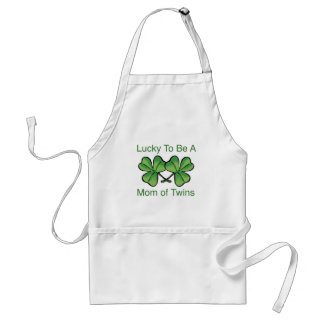 Lucky To Be Twin Mom Adult Apron