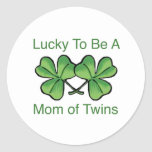 Lucky To Be Twin Mom Classic Round Sticker