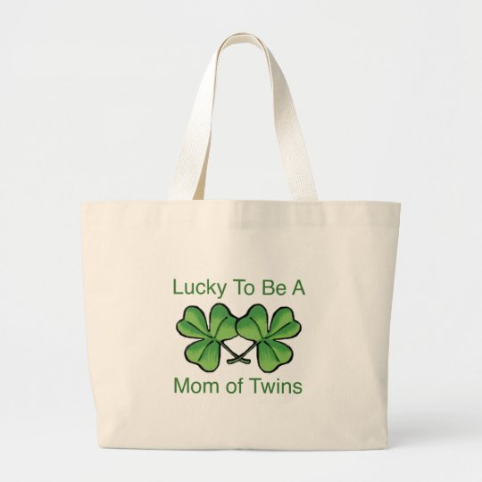Lucky To Be Twin Mom Large Tote Bag