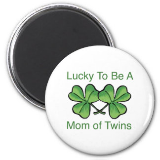 Lucky To Be Twin Mom 2 Inch Round Magnet