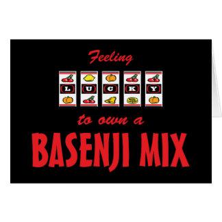 Lucky to Own a Basenji Mix Fun Dog Design Card