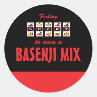Lucky to Own a Basenji Mix Fun Dog Design Classic Round Sticker