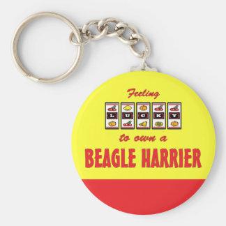 Lucky to Own a Beagle Harrier Fun Dog Design Basic Round Button Keychain