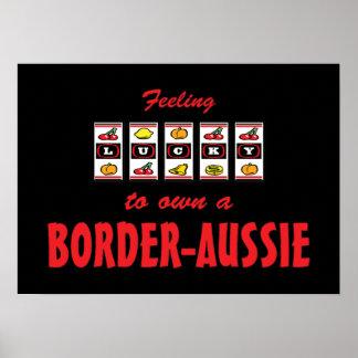 Lucky to Own a Border-Aussie Fun Dog Design Print