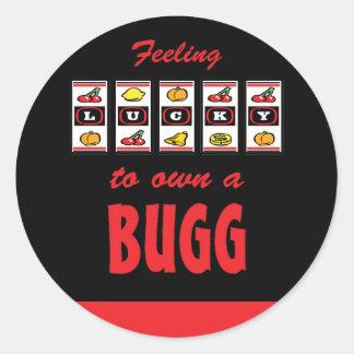 Lucky to Own a Bugg Fun Dog Design Round Sticker