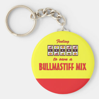 Lucky to Own a Bullmastiff Mix Fun Dog Design Keychain