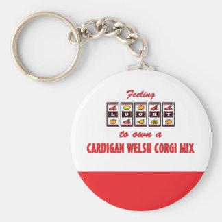Lucky to Own a Cardigan Welsh Corgi Mix Fun Design Basic Round Button Keychain