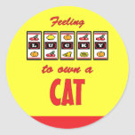 Lucky to Own a Cat Fun Cat Design Round Stickers
