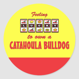 Lucky to Own a Catahoula Bulldog Fun Dog Design Classic Round Sticker