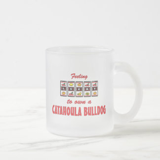 Lucky to Own a Catahoula Bulldog Fun Dog Design Frosted Glass Coffee Mug