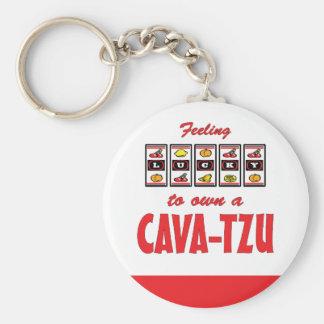 Lucky to Own a Cava-Tzu Fun Dog Design Keychain