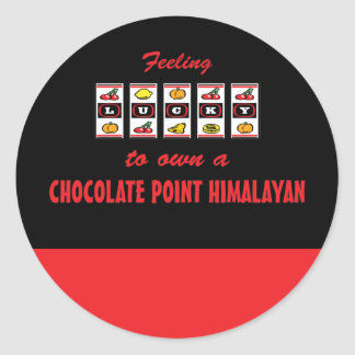 Lucky to Own a Chocolate Point Himalayan Fun Cat D Classic Round Sticker