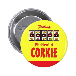 Lucky to Own a Corkie Fun Dog Design Pin