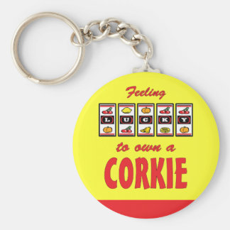 Lucky to Own a Corkie Fun Dog Design Keychains