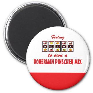 Lucky to Own a Doberman Pinscher Mix Fun Design Magnet