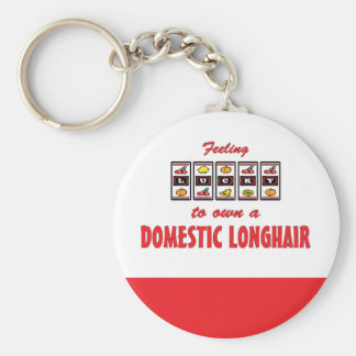 Lucky to Own a Domestic Longhair Fun Cat Design Keychain