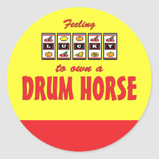 Lucky to Own a Drum Horse Fun Design Classic Round Sticker