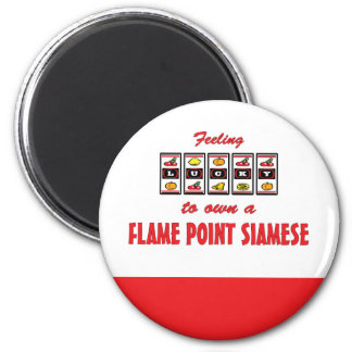 Lucky to Own a Flame Point Siamese Fun Cat Design 2 Inch Round Magnet