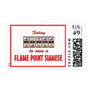 Lucky to Own a Flame Point Siamese Fun Cat Design Stamp