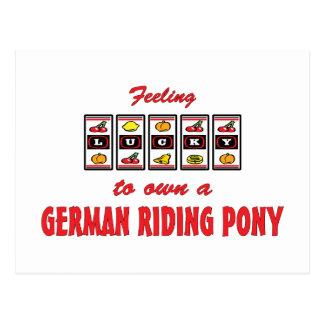 Lucky to Own a German Riding Pony Fun Design Postcard