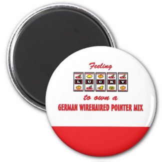 Lucky to Own a German Wirehaired Pointer Mix 2 Inch Round Magnet