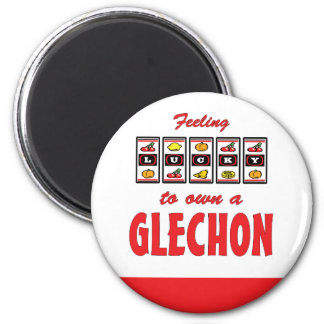 Lucky to Own a Glechon Fun Dog Design 2 Inch Round Magnet