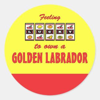 Lucky to Own a Golden Labrador Fun Dog Design Classic Round Sticker