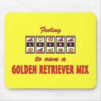 Lucky to Own a Golden Retriever Mix Fun Dog Design Mouse Pad