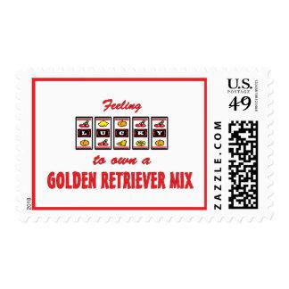Lucky to Own a Golden Retriever Mix Fun Dog Design Stamps