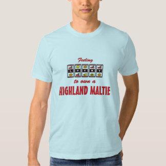 Lucky to Own a Highland Maltie Fun Dog Design T Shirts