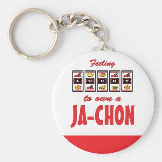 Lucky to Own a Ja-Chon Fun Dog Design Basic Round Button Keychain