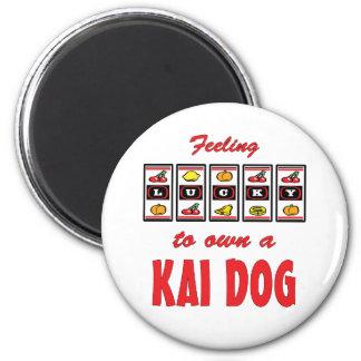 Lucky to Own a Kai Dog Fun Dog Design 2 Inch Round Magnet
