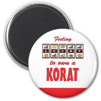Lucky to Own a Korat Fun Cat Design 2 Inch Round Magnet