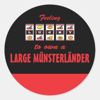 Lucky to Own a Large Münsterländer Fun Dog Design Classic Round Sticker
