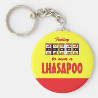 Lucky to Own a Lhasapoo Fun Dog Design Keychain