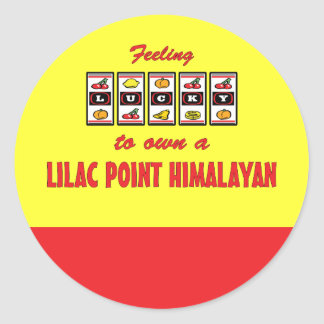 Lucky to Own a Lilac Point Himalayan Fun Cat Desig Classic Round Sticker