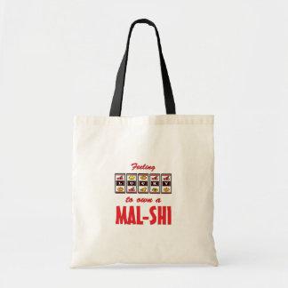 Lucky to Own a Mal-Shi Fun Dog Design Budget Tote Bag
