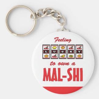 Lucky to Own a Mal-Shi Fun Dog Design Basic Round Button Keychain