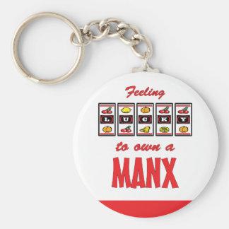 Lucky to Own a Manx Fun Cat Design Basic Round Button Keychain