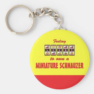 Lucky to Own a Miniature Schnauzer Fun Dog Design Keychain