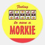 Lucky to Own a Morkie Fun Dog Design Sticker